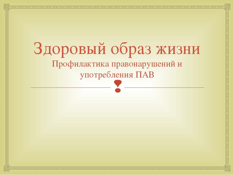 Здоровый образ жизни Профилактика правонарушений и употребления ПАВ Хатламадж...