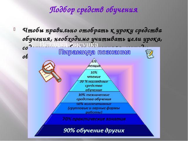 Подбор средств обучения Чтобы правильно отобрать к уроку средства обучения, н...