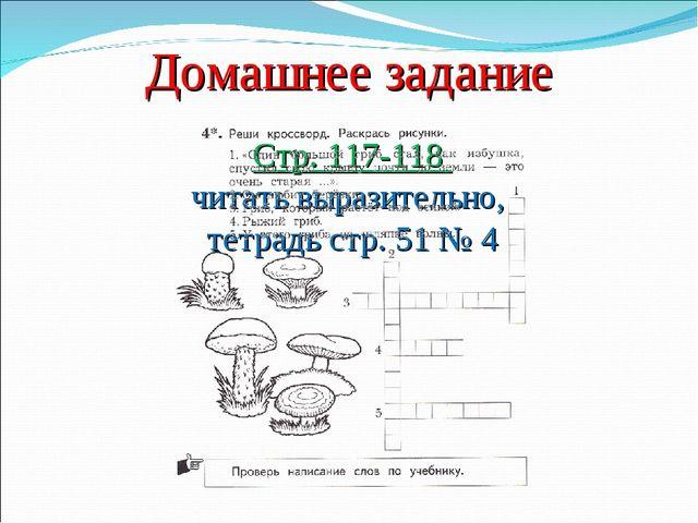 Домашнее задание Стр. 117-118 читать выразительно, тетрадь стр. 51 № 4