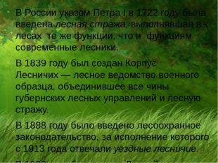В России указом Петра I в 1722 году была введена лесная стража, выполнявшая в