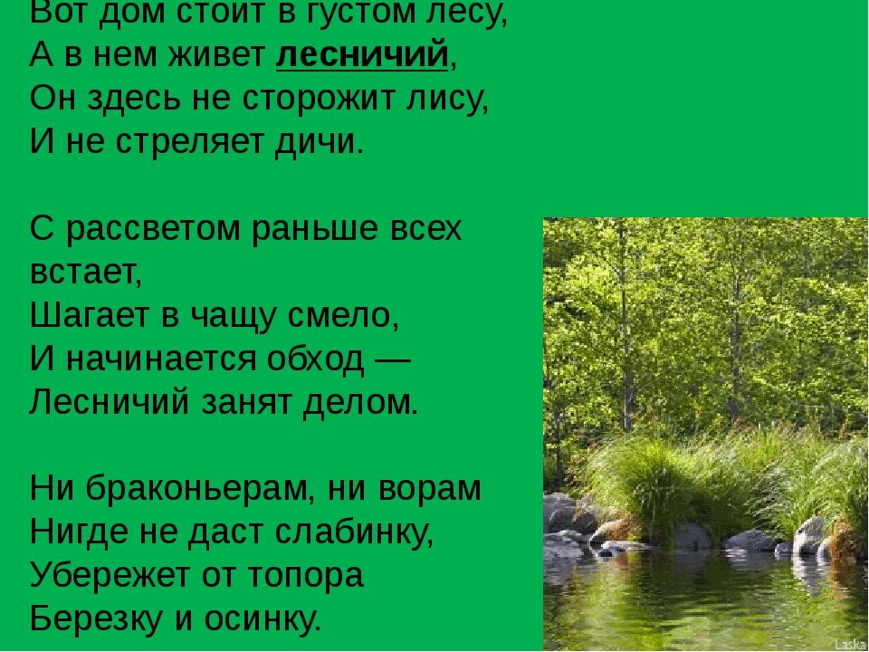 Вот дом стоит в густом лесу, А в нем живет лесничий, Он здесь не сторожит лис...