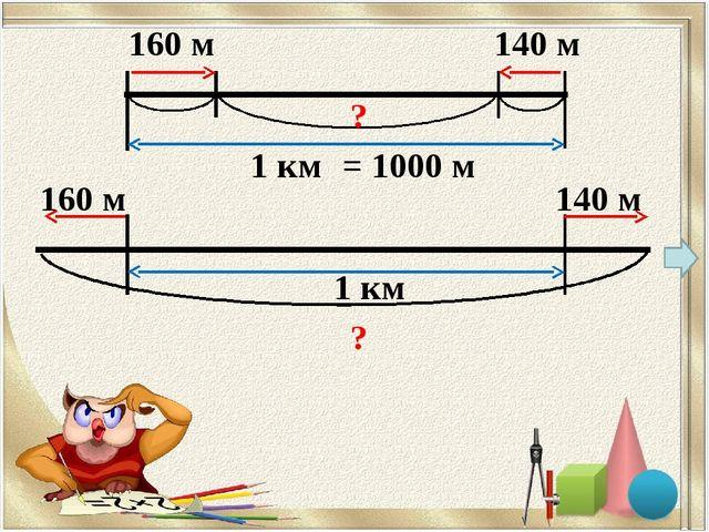 160 м 140 м 1 км ? 160 м 140 м 1 км ? = 1000 м