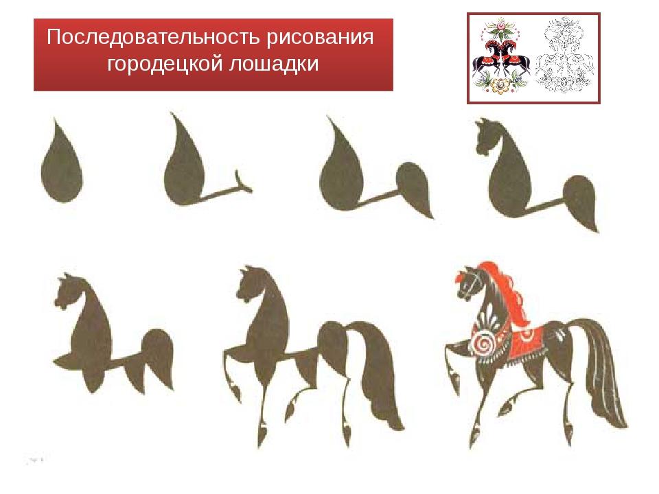Последовательность рисования городецкой лошадки