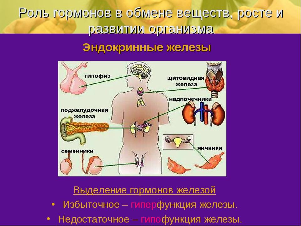 Роль гормонов в обмене веществ, росте и развитии организма Выделение гормонов...