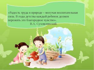 «Радость труда в природе – могучая воспитательная сила. В годы детства кажды