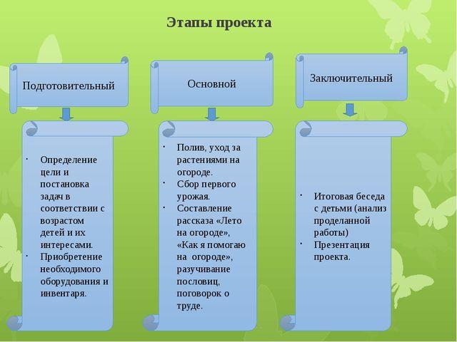 Этапы проекта Подготовительный Основной Заключительный Определение цели и пос...