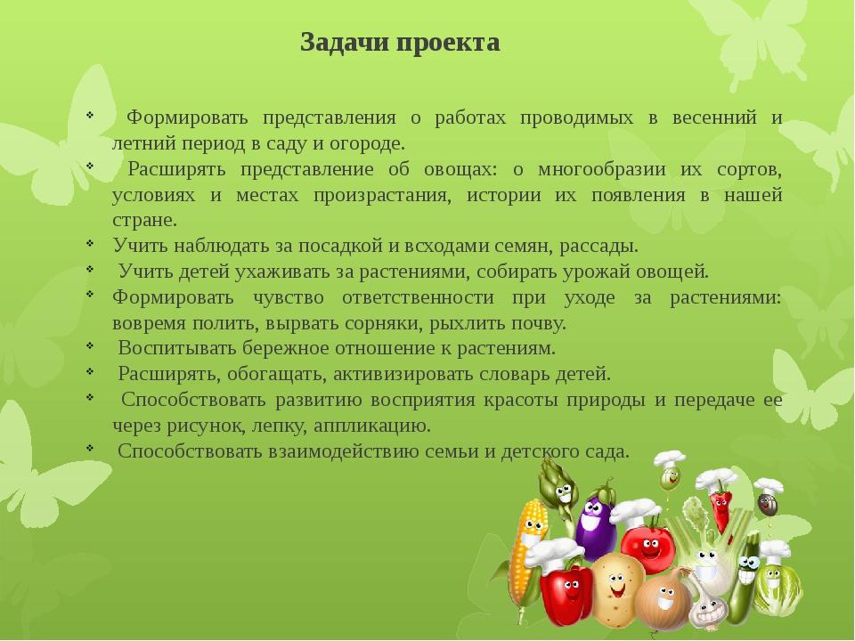 Задачи проекта Формировать представления о работах проводимых в весенний и ле...