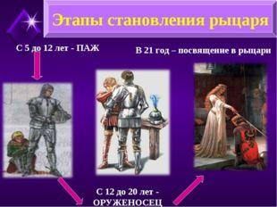 С 5 до 12 лет - ПАЖ С 12 до 20 лет - ОРУЖЕНОСЕЦ В 21 год – посвящение в рыцар