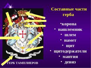 Составные части герба корона нашлемник шлем намет щит щитодержатели мантия д
