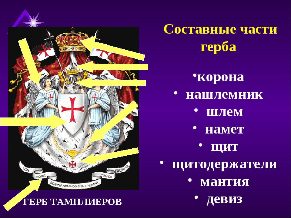 Составные части герба корона нашлемник шлем намет щит щитодержатели мантия д...