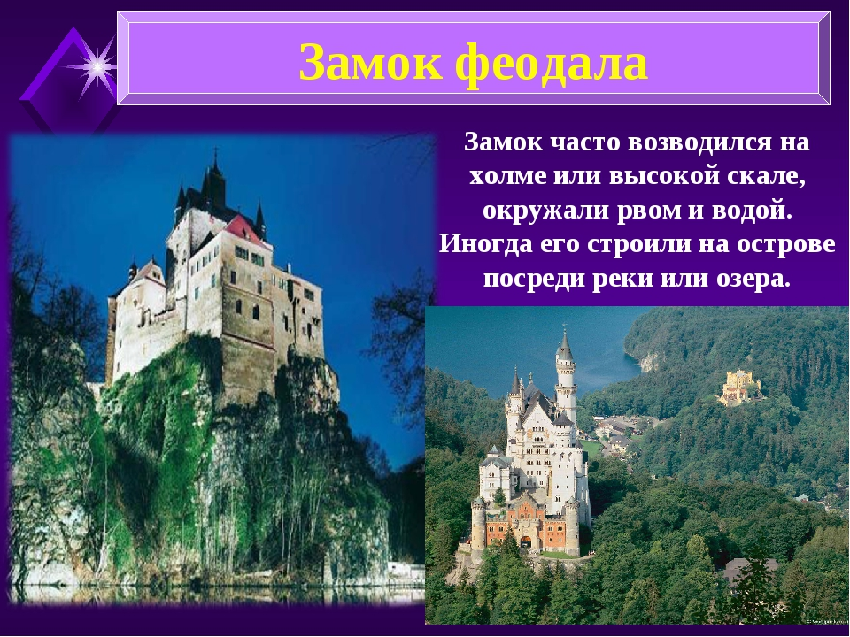 Замок феодала Замок часто возводился на холме или высокой скале, окружали рво...