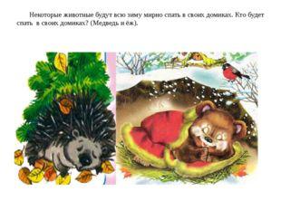 Некоторые животные будут всю зиму мирно спать в своих домиках. Кто будет спа