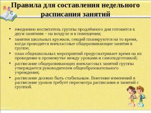 Правила для составления недельного расписания занятий ежедневно воспитатель г