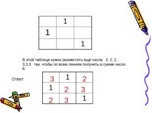 В этой таблице нужно разместить ещё числа 2, 2, 2, 3,3,3 так, чтобы по всем л