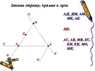 Запиши отрезки, прямые и лучи АД, ДМ, АМ, МЕ, АЕ. МЕ. АС, АВ, МВ, ЕС, ЕН, ЕК,