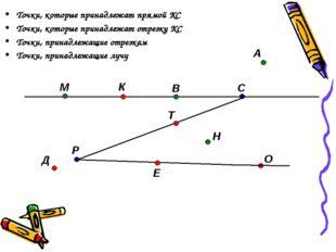 Точки, которые принадлежат прямой КС Точки, которые принадлежат отрезку КС То