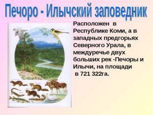 Расположен в Республике Коми, а в западных предгорьях Северного Урала, в межд