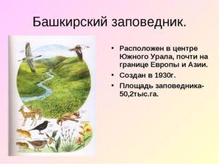 Башкирский заповедник. Расположен в центре Южного Урала, почти на границе Евр