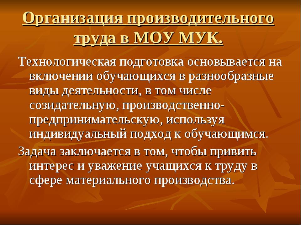 Организация производительного труда в МОУ МУК. Технологическая подготовка осн...