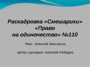 Раскадровка «Смешарики» «Право на одиночество» №110 Реж.: Алексей Минченок, а