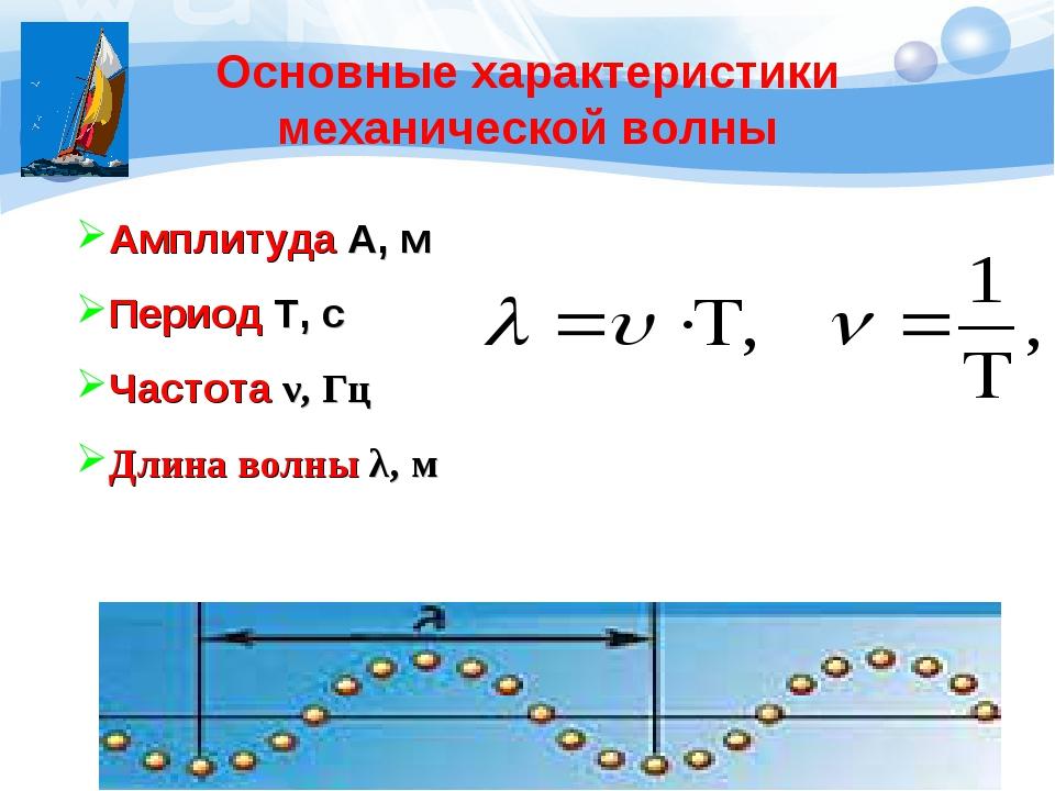 Основные характеристики механической волны Амплитуда А, м Период Т, с Частота...