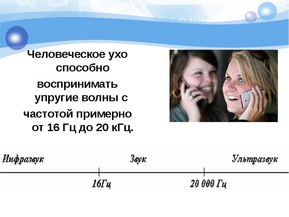 Человеческое ухо способно воспринимать упругие волны с частотой примерно от 1...