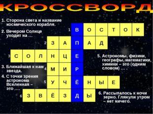 1. Сторона света и название космического корабля. В С Т О О К П А Д А З О С Е