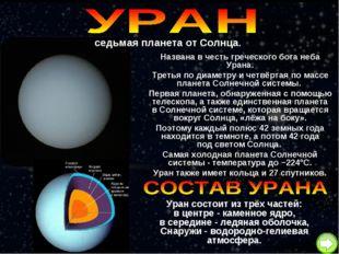седьмая планета от Солнца. Названа в честь греческого бога неба Урана. Третья