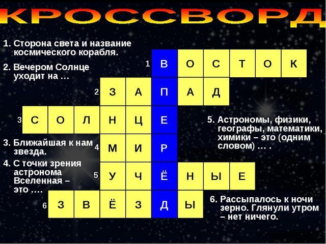 1. Сторона света и название космического корабля. В С Т О О К П А Д А З О С Е...