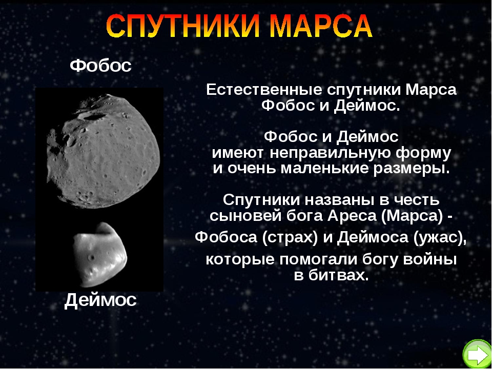 Естественные спутники Марса Фобос и Деймос. Фобос и Деймос имеют неправильную...