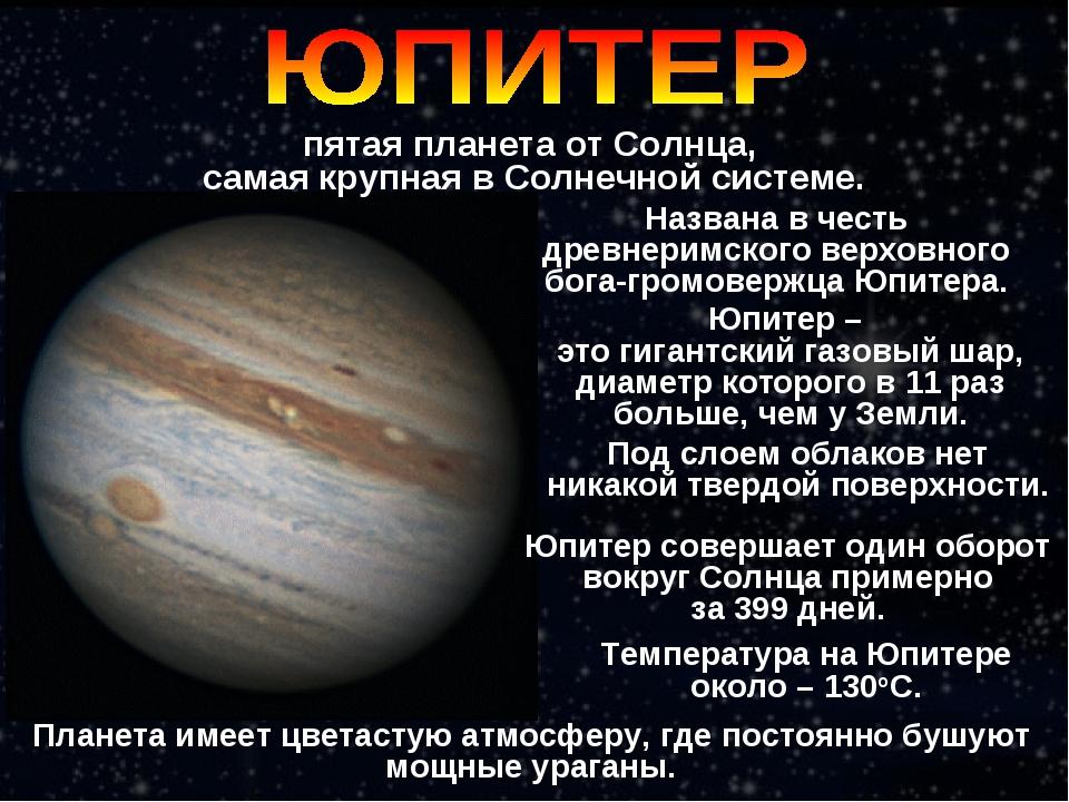 пятая планета от Солнца, самая крупная в Солнечной системе. Под слоем облаков...