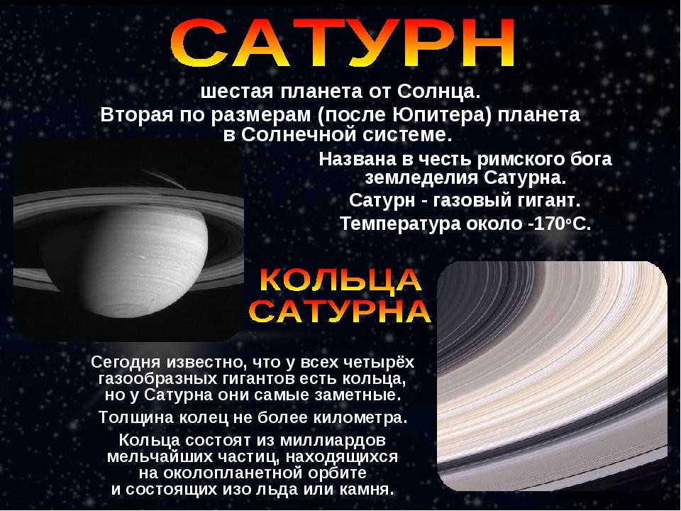 Названа в честь римского бога земледелия Сатурна. Сатурн - газовый гигант. Те...