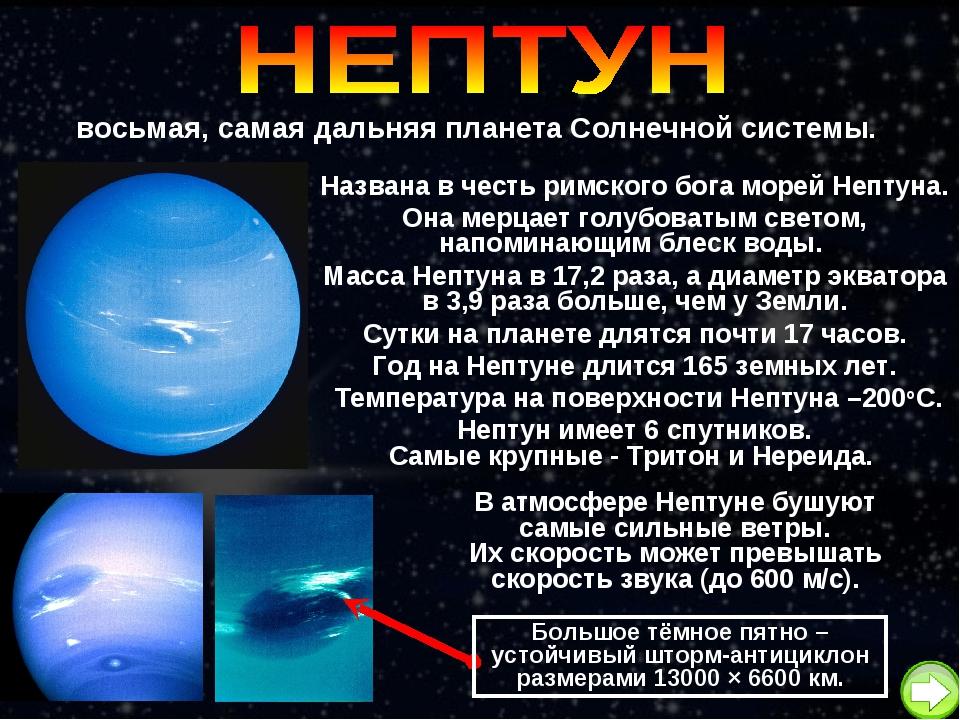 восьмая, самая дальняя планета Солнечной системы. Названа в честь римского бо...