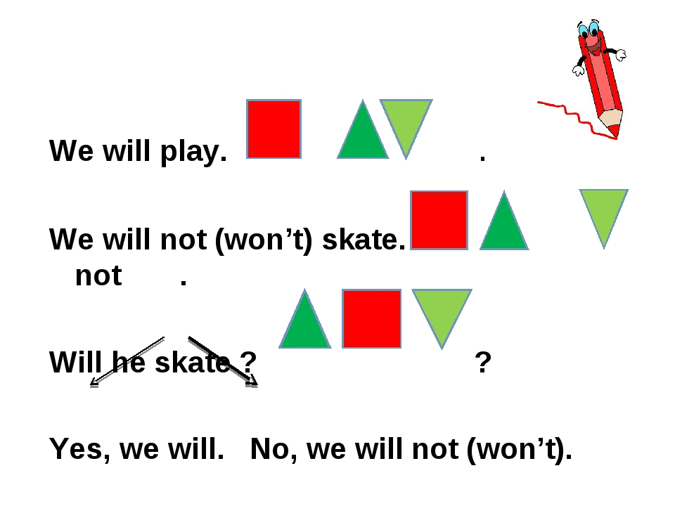 We will play. . We will not (won't) skate. not . Will he skate ? ? Yes, we wi...