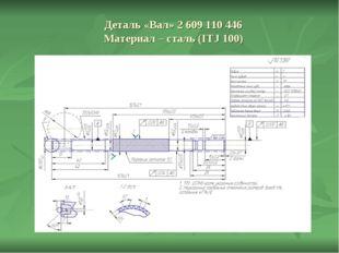 Деталь «Вал» 2 609 110 446 Материал – сталь (ITJ 100)