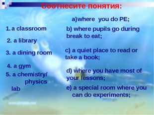 5. a chemistry/ physics lab e) a special room where you can do experiments; a