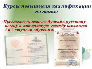 Курсы повышения квалификации по теме: «Преемственность в обучении русскому яз