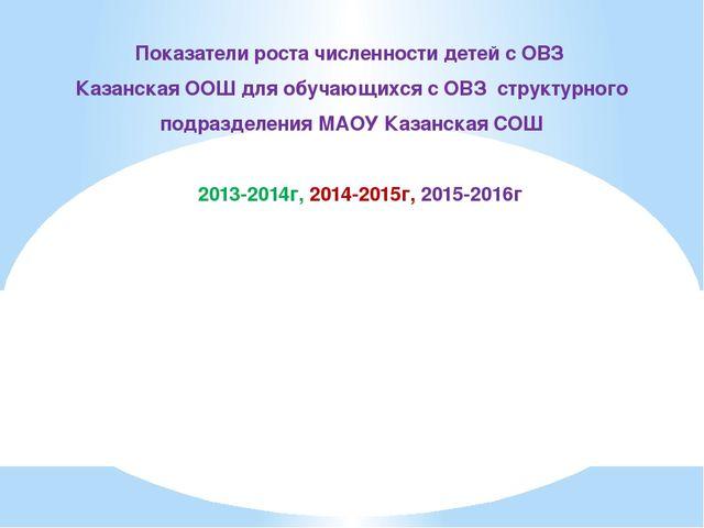 Показатели роста численности детей с ОВЗ Казанская ООШ для обучающихся с ОВЗ...