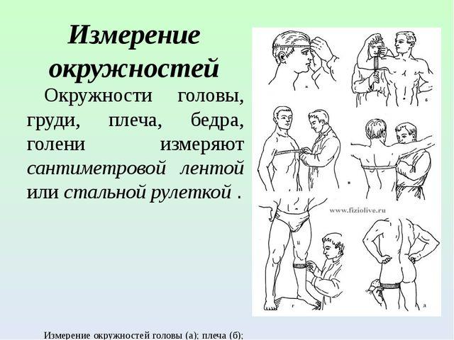 Измерение окружностей Окружности головы, груди, плеча, бедра, голени измеряют...