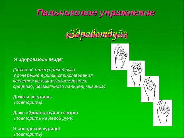 «Здравствуй» Я здороваюсь везде:  (большой палец правой руки поочерёдно в р...