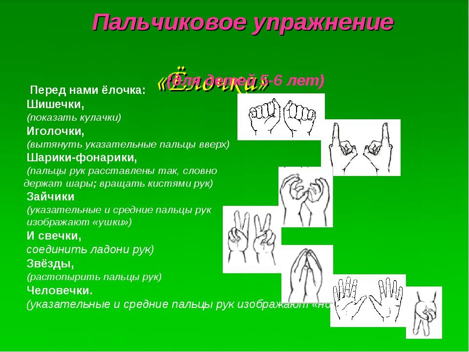 «Ёлочка» Пальчиковое упражнение (для детей 5-6 лет) Перед нами ёлочка: Шиш...