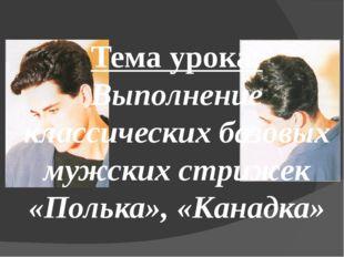 Тема урока: Выполнение классических базовых мужских стрижек «Полька», «Канадка»