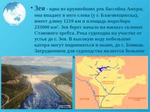 Зея - одна из крупнейших рек бассейна Амура; она впадает в него слева (у г. Б