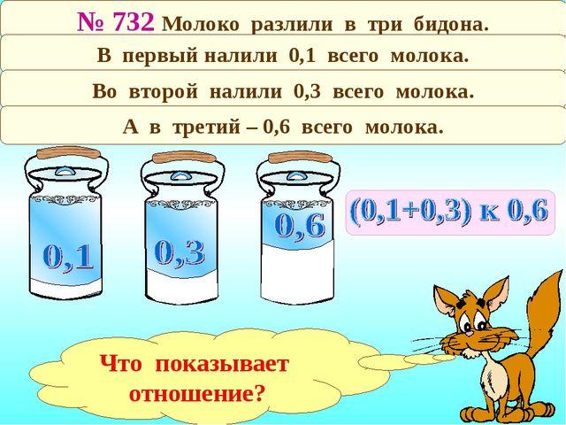 № 732 Молоко разлили в три бидона. В первый налили 0,1 всего молока. Во второ...