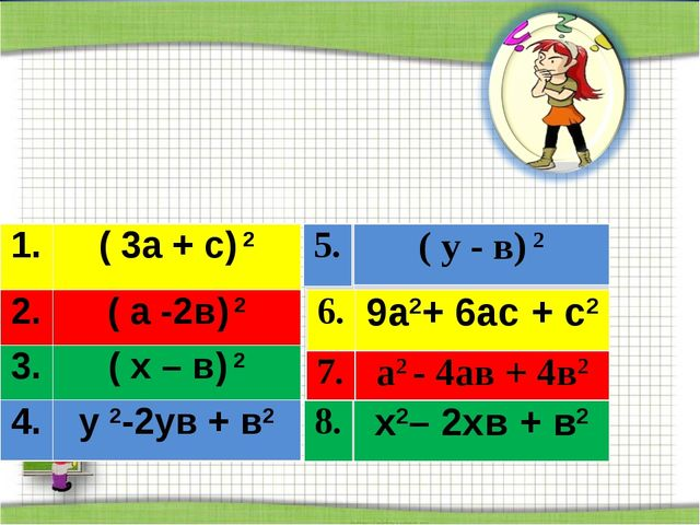 Соедините пары тождественно равных выражений 1.( 3а + с) 2 2.( а -2в) 2 3....