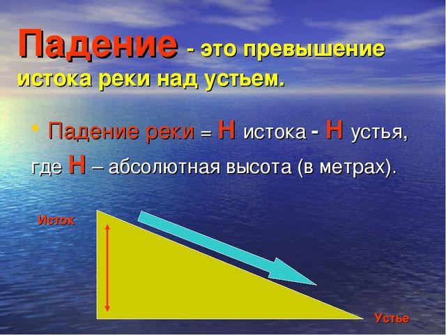Падение - это превышение истока реки над устьем. Падение реки = Н истока - Н...