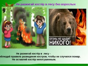 Не разжигай костёр в лесу без взрослых Не разжигай костёр в лесу - соблюдай