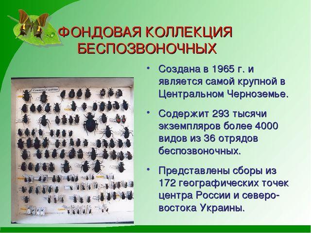 ФОНДОВАЯ КОЛЛЕКЦИЯ БЕСПОЗВОНОЧНЫХ Создана в 1965 г. и является самой крупной...
