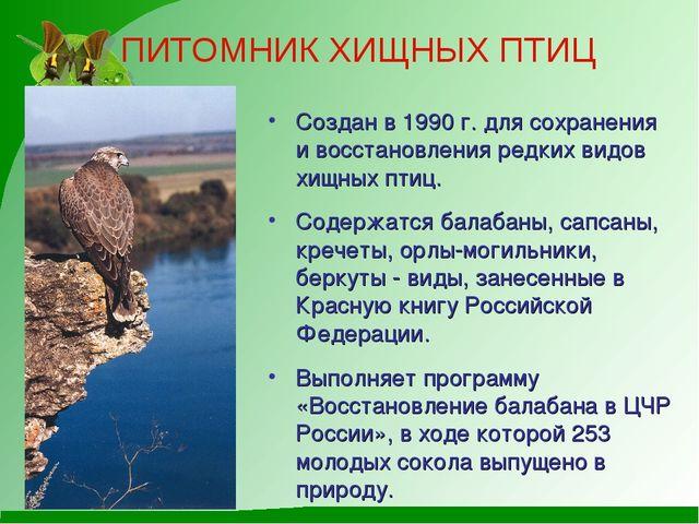 ПИТОМНИК ХИЩНЫХ ПТИЦ Создан в 1990 г. для сохранения и восстановления редких...