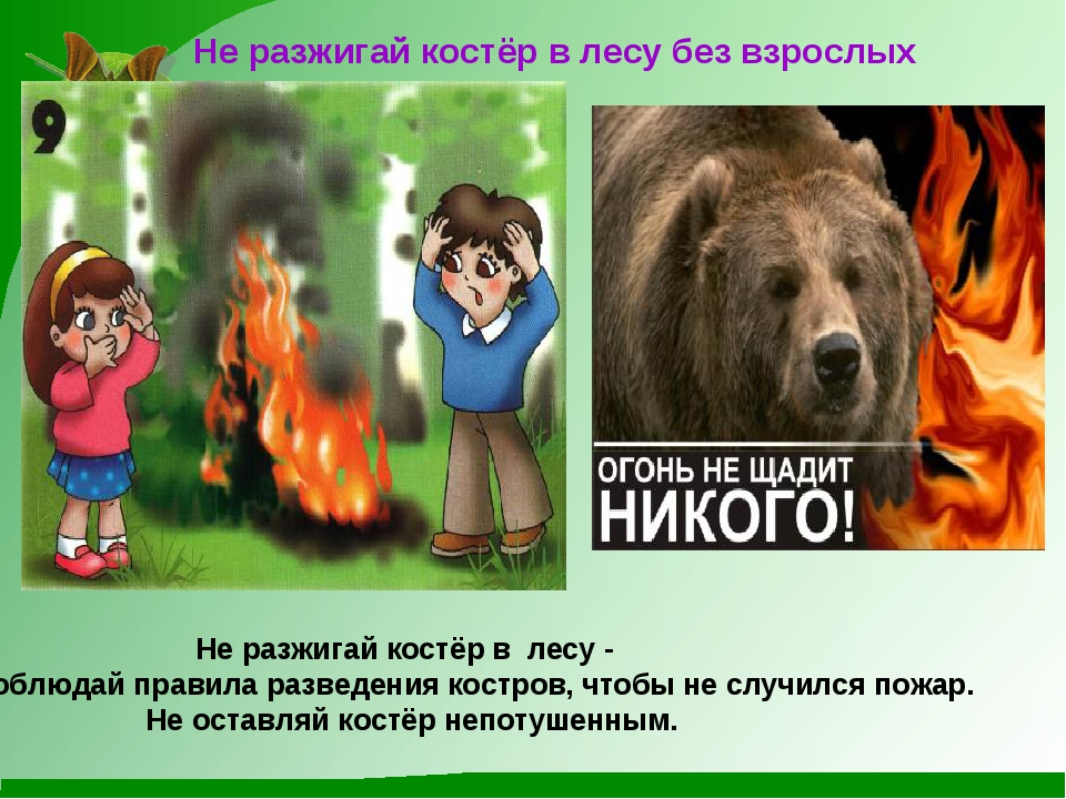 Не разжигай костёр в лесу без взрослых Не разжигай костёр в лесу - соблюдай...